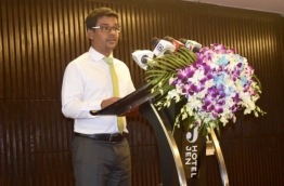Health Minister Abdulla Nazim speaks at ceremony. PHOTO/HEALTH MINISTRY