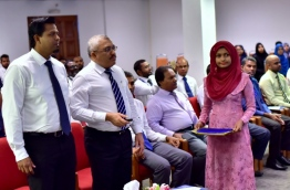 Auditor General Hassan Ziyath (L) with Vice President Abdulla Jihad at the inauguration of Audit Office' Strategic Plan and new website. PHOTO: HUSSAIN SHAYAAH/MIHAARU