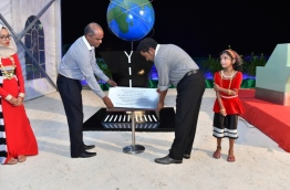 President Yameen (L) inaugurates the project to develop INIA's new terminal. PHOTO/PRESIDENT'S OFFICE
