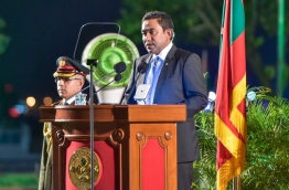 President Yameen addressing the Nation on the occasion of Independence Day PHOTO: Mohamed Sharuhan/Mihaaru