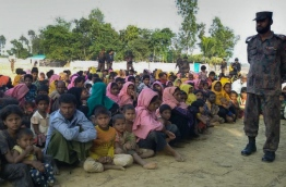 Border Guard Bangladesh (BGB) personnel have intercepted 34 boats carrying some 340 Rohingyas at border points near Cox's Bazar. / AFP PHOTO / STR