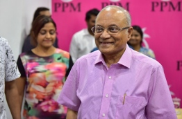 Former President Maumoon and his daughter Dhunya (L) after a meeting at PPM Office. MIHAARU PHOTO