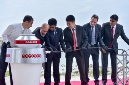 Ooredoo Maldives CEO Vikram Sinha (R) with other officials during the inauguration of Ooredoo Maldives' nationwide submarine cable project. FILE PHOTO: NISHAN ALI/MIHAARU