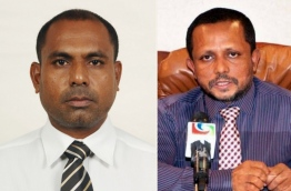 Islamic State Minister Hassan Rasheed (L) and Education Ministry's Senior Policy Executive Mohamed Musthafa.