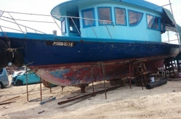 The beached worn-out boat allegedly purchased by Maldives Ports Limited (MPL) for MVR 5 million.