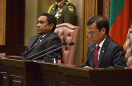 Parliament speaker (R) and President Yameen at the parliamentary sitting in 2014 held to read the presidential address. PHOTO/MAJLIS