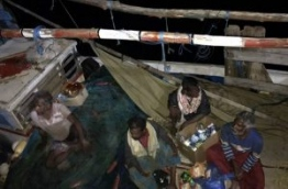 The fishermen aboard the adrift Sri Lankan fishing vessel at the time of rescue. PHOTO/MNDF