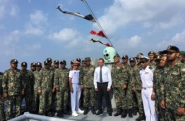 Defence Minister Adam Shareef poses with the officers of MSCG Huravee. PHOTO/MNDF