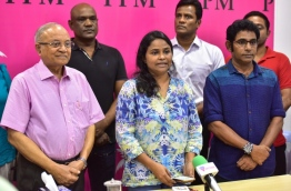 Former President Maumoon's faction of PPM speaking to press. PHOTO: Nishan Ali/Mihaaru