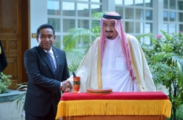 President Yameen (L) with the then Crown Prince Salman on his previous visit to Maldives. PHOTO: President's Office