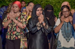 Shidhatha Shareef (C) in a rally of MUO. PHOTO:Mihaaru