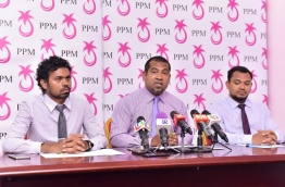 PPM Elections Committee's President Mohamed Rabih (C) speaks at press conference. PHOTO: NISHAN ALI/MIHAARU