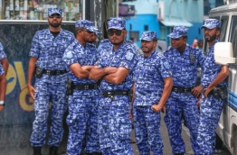 Officers of Maldives Police Service. PHOTO:Mihaaru
