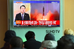 North Korea fired a ballistic missile on February 12 in an apparent provocation to test the response from new US President Donald Trump, the South Korean defence ministry said. / AFP PHOTO / JUNG Yeon-Je