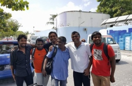 "The six MDP members, who were arrested over making a ""grave"" on a road of A.A. Ukulhas, pose for a photo after their release. PHOTO/MDP"