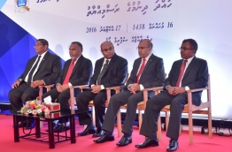 Some judges of the Supreme Court with Attorney General Anil Mohamed (L).