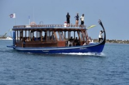 A boat carrying tourists on a whale shark sighting excursion in South Ari atoll. PHOTO: AHMED ABDULLA SAEED/MIHAARU