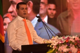 MDA Leader Siyam speaking at the introductory ceremony of MDA candidates for Local Council Elections. PHOTO:Hussain Waheed/Mihaaru