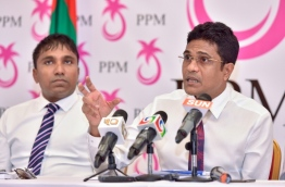 PPM parliament majority leader and Villimale MP Ahmed Nihan speaks at PPM press conference. PHOTO: NISHAN ALI/MIHAARU