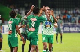 Maziya S&RC players celebrate after scoring a goal. PHOTO/MAZIYA