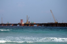 Ongoing development of the China-Maldives Friendship Bridge linking Male and Hulhule. PHOTO/MIHAARU