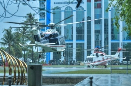 Two helicopters brought in from Saudi Arabia for King Salman's visit land in the Republic Square in capital Male during rehearsals for the royal welcoming ceremony. PHOTO: HUSSAIN WAHEED/MIHAARU