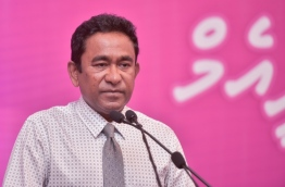 President Yameen speaks at PPM ceremony to present membership forms of ruling party's new members. PHOTO: HUSSAIN WAHEED/MIHAARU