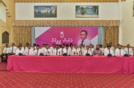 The press conference held by PPM/MDA joint parliamentary group. PHOTO: NISHAN ALI/MIHAARU