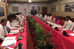 PPM council holds meeting to discuss expulsion of Former President Maumoon as party leader. PHOTO/SOCIAL MEDIA