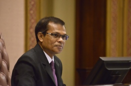 Parliament speaker Abdulla Maseeh during the debate on the motion of no confidence submitted against him. PHOTO/MAJLIS