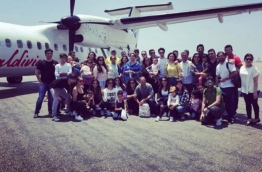 Family and friends of Bollywood superstar Salman Khan pose for photo at Velana International Airport.
