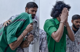 Abdulla Nazeef (R) and Mohamed Shifau, who have been sentenced to death for the murder of Ahmed Mirza Ibrahim. PHOTO: NISHAN ALI/MIHAARU
