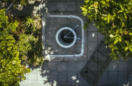 Overhead view of an uncovered well in Hithadhoo, Addu. IMAGE/AISHATH NAJ