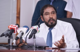 Qasim Ibrahim at his last press conference before his arrest. PHOTO:Hussain Waheed / Mihaaru