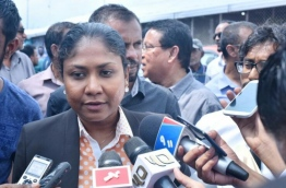 Lawyer Hisaan Hussain of Jumhoory Party leader Qasim Ibrahim's legal team speaks to reporters after a hearing at the Criminal Court. PHOTO: HUSSAIN WAHEED/MIHAARU