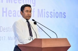 President Yameen speaks at annual meeting of the Heads of Missions of the Maldives. PHOTO: NISHAN ALI/MIHAARU