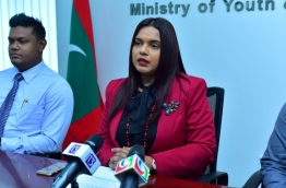 Youth Minister Iruthisham Adam speaks at press conference. PHOTO/YOUTH MINISTRY
