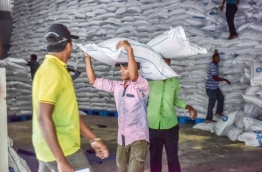 Sacks of flour being carried out of STO's warehouse for staple foods. FILE PHOTO/MIHAARU