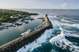 An aerial view of the sea wall around Fuvahmulah. PHOTO/AISHATH NAJ