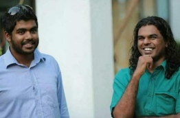 Social media activist Yameen Rasheed (L) with journalist Ahmed Rilwan