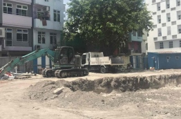 An area of the former Naadhee land plot excavated to prepare for flat development. PHOTO: FAZEENA AHMED/MIHAARU