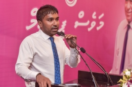 MP Ilham speaking at a rally of PPM photo: Mihaaru Files