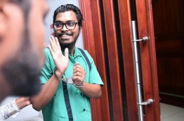 Arrested Male City Councilor Zaidul Ameen being taken to Criminal Court PHOTO:Hussain Waheed/Mihaaru