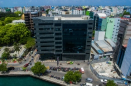 Aerial view of Maldives Monetary Authority (MMA) in capital Male.