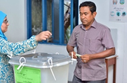 President Abdulla Yameen pictured voting at the Local Council Election PHOTO:Nishan Ali/Mihaaru