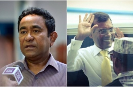 Composite image of President Yameen (L) and Former President Nasheed.