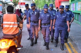 Group of Police officers pictured in Duty PHOTO:Nishan Ali/Mihaaru