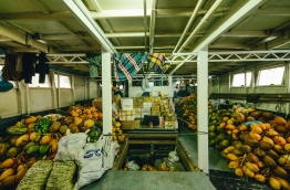 Assortment of coconuts and other goods aboard the New Line cargo vessel. PHOTO/AISHATH NAJ