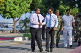 Attorney General Mohamed Anil (L) pictured with Economic Minister Mohamed Saeed. FILE PHOTO/MIHAARU