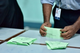 Ballot papers being counted in the Local Council Elections. PHOTO:Mihaaru